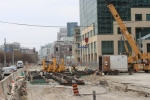 Looking W on Queens Quay at Spadina