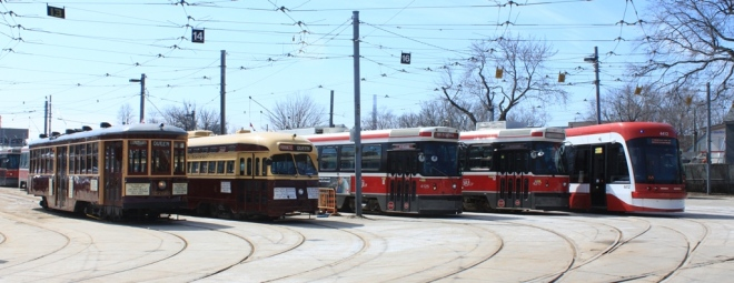 The Easter Parade fleet at Russell Carhouse: 2766, 4500, 4126, 4217 and 4412