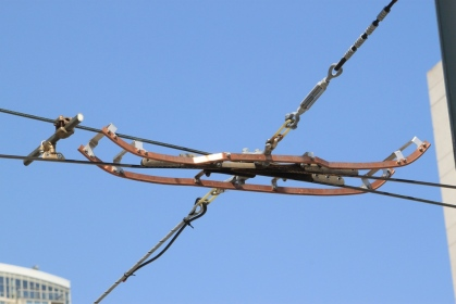 Overhead frog showing the skate to take pantographs under the frog.