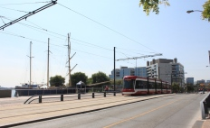 EB on Queens Quay at HTO Park with the Caledonia in the background